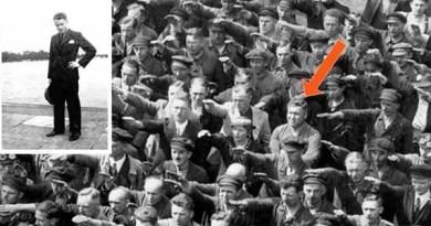 Detalhe da famosa fotografia em que um homem, que se acredita ser August Landmesser, se recusa a fazer a saudação nazista.