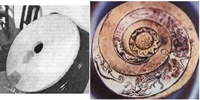 Esquerda: Suposta fotografia de uma Disco Dropa de 1962. Direita: Imagem representativa de uma Disco Dropa, publicada no livro Sungods in Exile