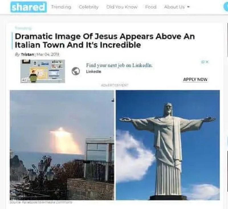 Jesus no céu de Agrapoli igual ao Cristo Redentor do Rio