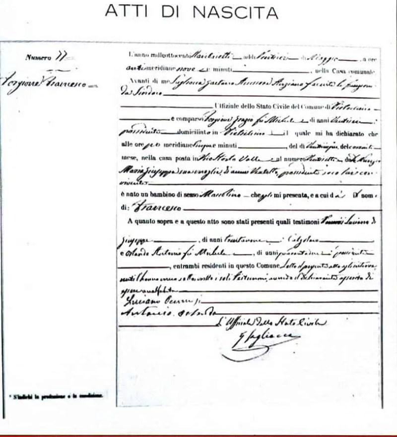Esta é a certidão de nascimento de Francesco Forgione, o futuro Padre Pio