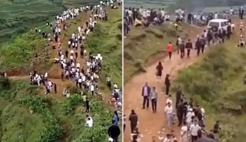 Milhares de pessoas ouvem um dragão rosnar em uma montanha na China