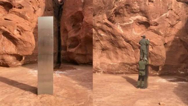 Alienígenas ou artistas Um monólito metálico de 3 metros de altura surgiu do nada em Utah