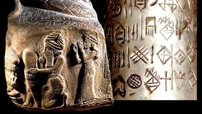 Pedra gravada (2150-2100 aC) e vaso de prata (1900-1880 aC) contendo a língua elamita. Crédito François Desset.