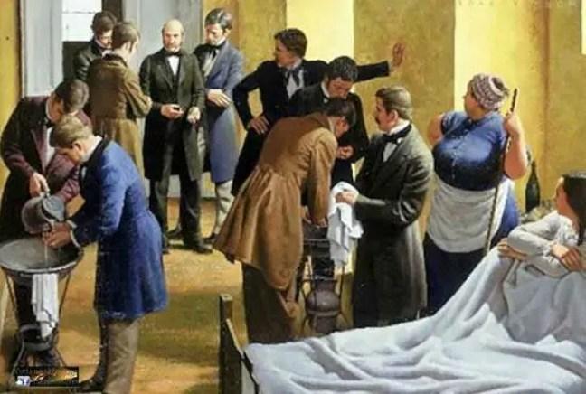 Pintura de uma sala de parto no Hospital de Viena, onde Semmelweis é retratada ensinando seus alunos.