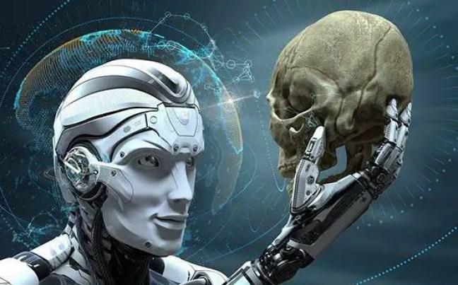 Robô segurando um crânio humano