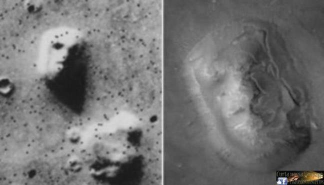 Imagem tirada pelo rover Viking em 1976, mostrando uma face gravada em uma rocha na superfície de Marte. Mesma rocha fotografada pela Mars Global Surveyor em 2001, sem rosto.