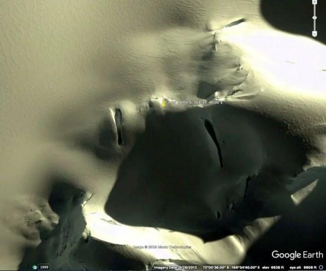 O rosto da Antártica em primeiro plano. Cortesia Google Earth.