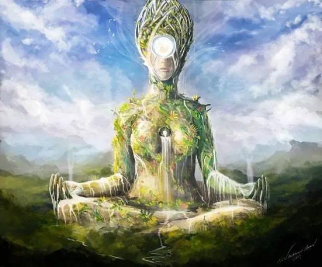 """Representação de Gea, Gaia, Mãe Terra ou Pachamama , Mãe Montanha, Mãe Natureza entre tantos outros nomes que ela recebe, e que é representada como um ser vivo em muitas culturas, sendo assim o """"grande elemental"""" do planeta Terra."""