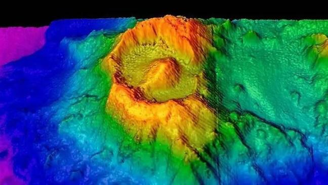 Um mapa 3D da caldeira conhecido como Olho de Sauron.