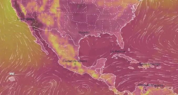 distribuição da temperatura na América do Norte, onde tudo está dentro dos limites normais.