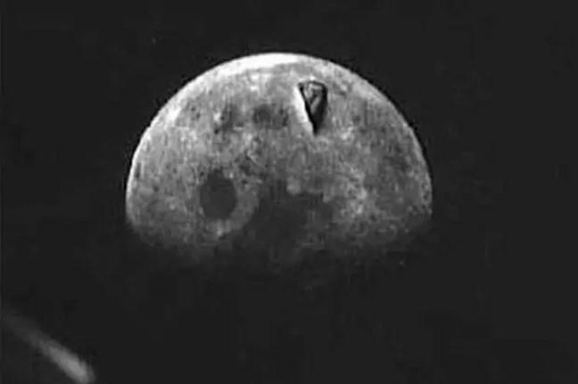 Imagem de estrutura capturada na lua(Esta estrutura na base lunar aparece como uma pizza cortada)