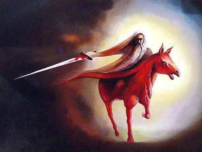 Representação do Cavalo Vermelho do Apocalipse.