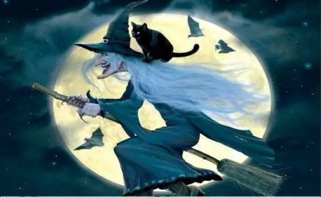 Representação da bruxa clássica de vassoura