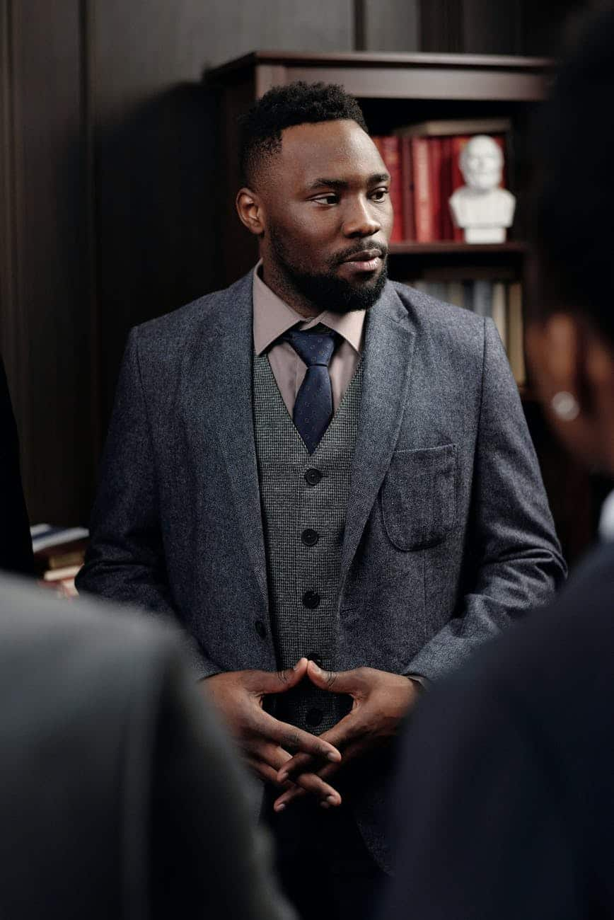 businessman looking sideways