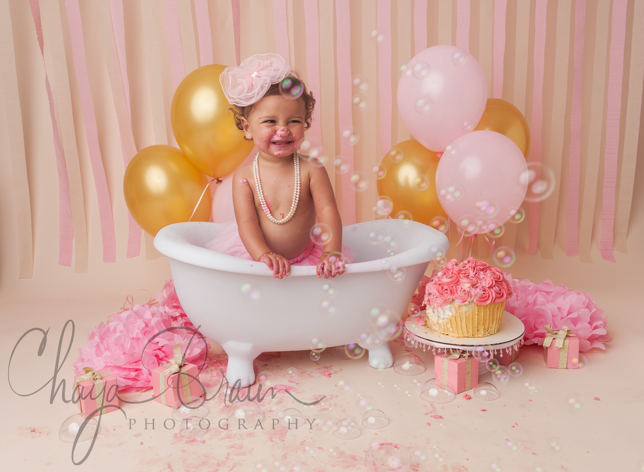 Pretty In Pink First Birthday Cake