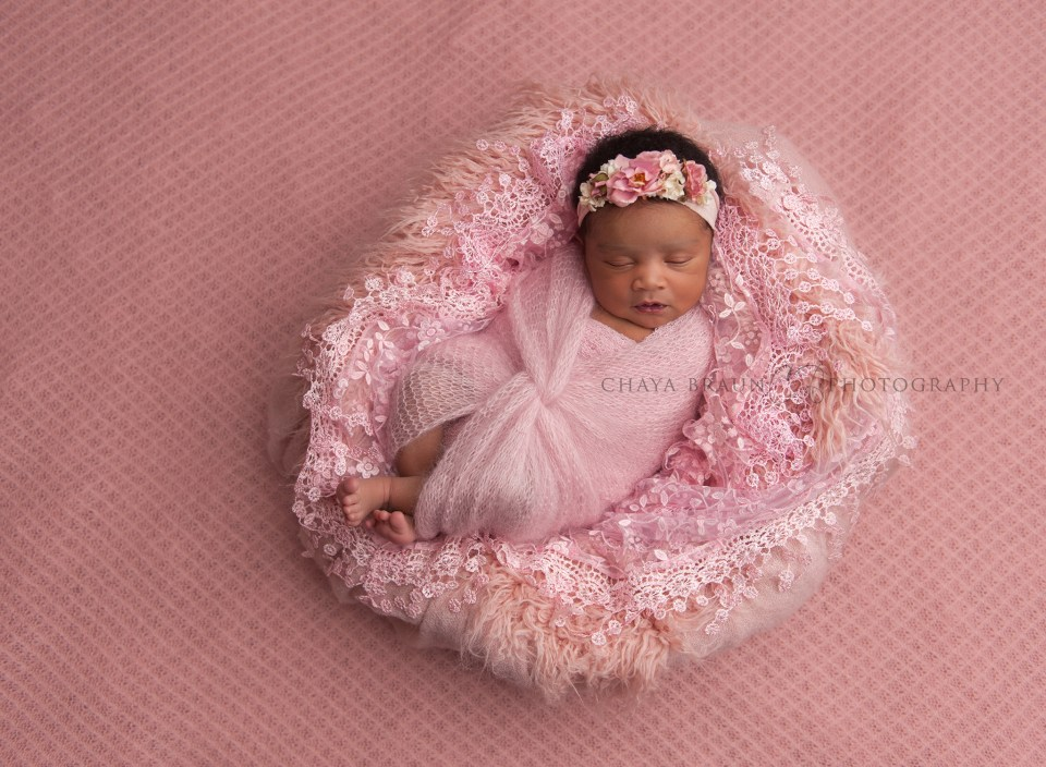 newborn baby girl in pink basket photo