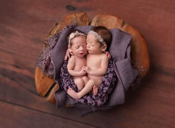 sweet newborn twin babies in Baltimore, MD