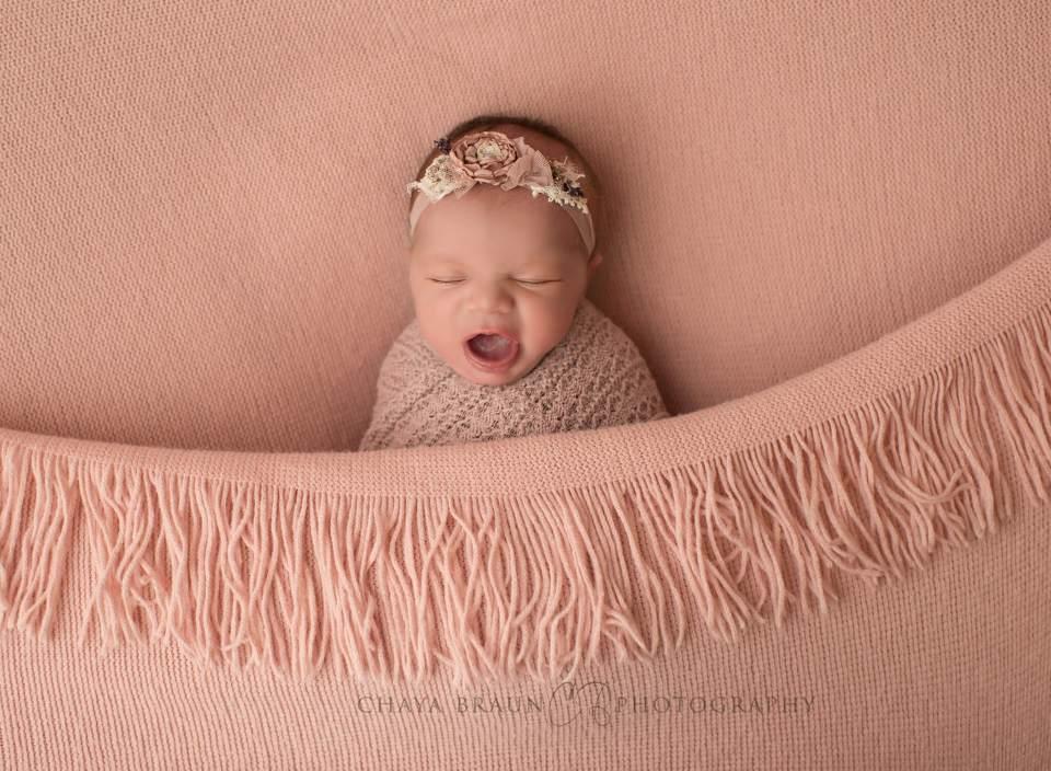 newborn baby yawning photo