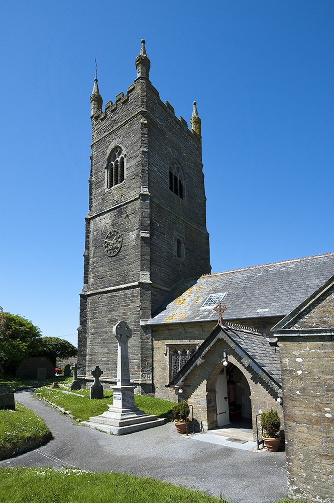 Job: Pelynt Church Caption: Pelynt Church tower and south porch.