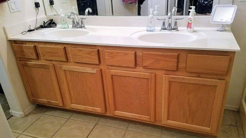 These ugly oak cabinets were throughout the whole house. So dated!
