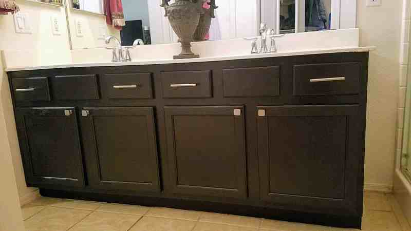 Our updated bathroom cabinets. For less than $200 we had enough materials left over to do the 2nd bathroom and the kitchen too!