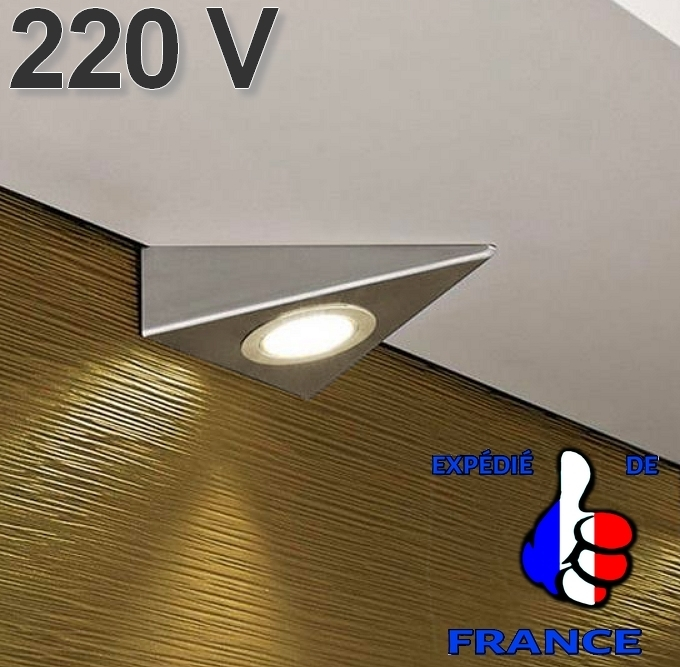 applique spot triangle led 220v sous element meuble cuisine