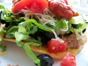 Tostada with Ground Beef and Fixings