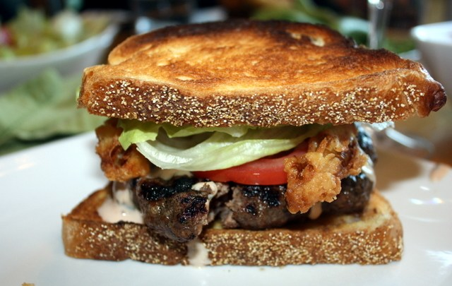 Buttermilk Onion Ring Burger with Bacon Rub