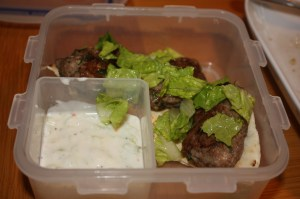 lamb koftas packed for lunch