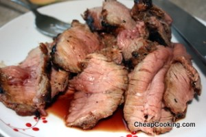 sliced steak marinated in honey and soy sauce