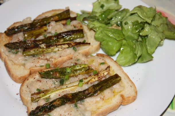Smashed White Bean Toasts with Roast Asparagus