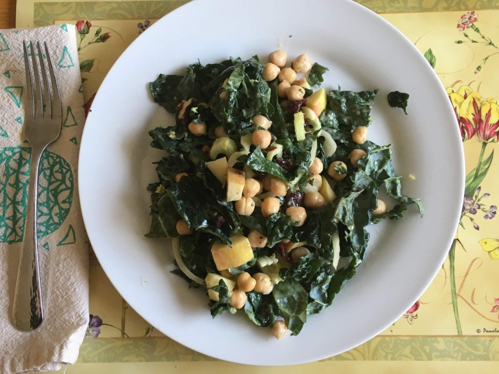 Sweet, Salty and Crunchy Kale Salad for lunch