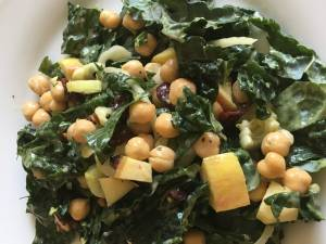 sweet salty crunchy kale salad