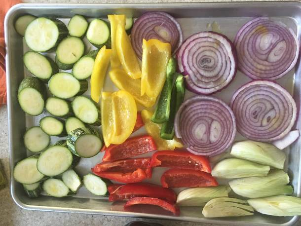 summer vegetables ready to oven roast