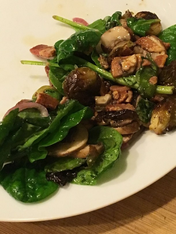 Mushroom, Spinach and Bacon Salad