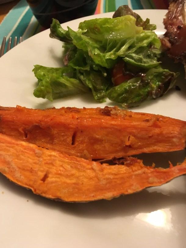 Crispy Sweet Potato Wedges without preheated pan