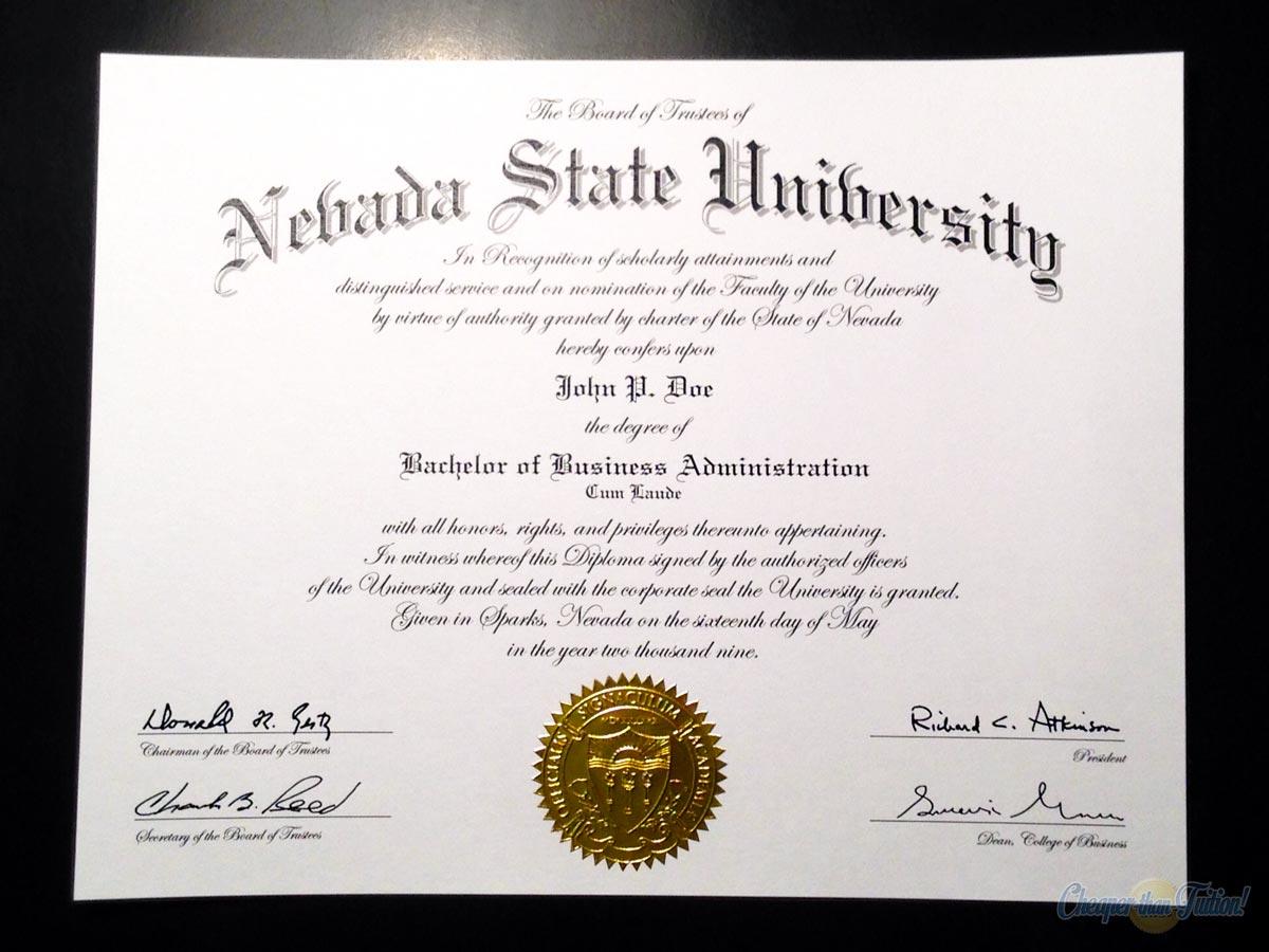 Fake diplomas certificates college university replicas fake nevada state university diploma yelopaper Images