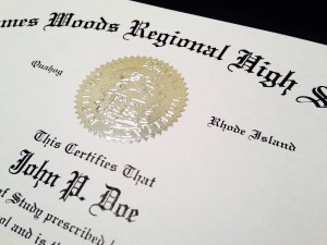 fake high school diploma embossed seal detail