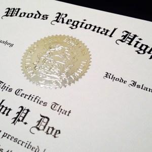 fake high school diploma embossed seal detail