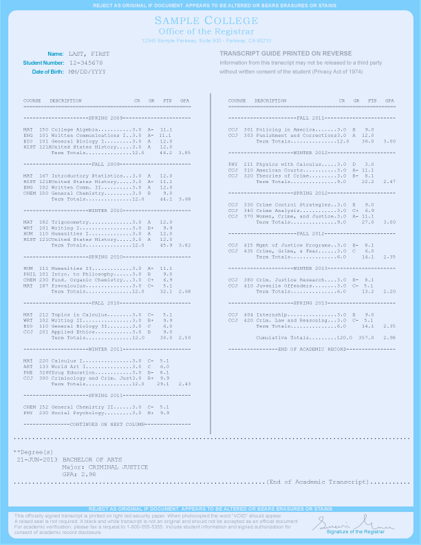 COLLEGE TRANSCRIPT TEMPLATE // T02-LIGHTBLUE