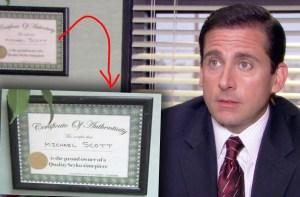 Michael Scott's fake diploma
