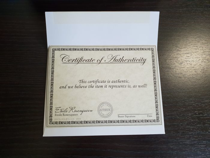 certificate of autheticity disgaea 1