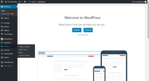 Menú de plugins en WordPress