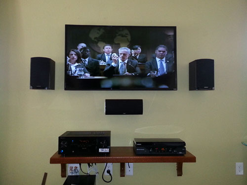 My DIY home theater installation & finished shelf for the dvd player, receiver