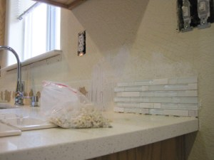 Showing you how to install a mosaic kitchen backsplash