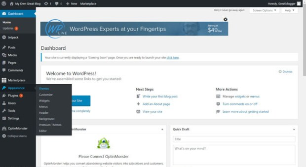 changing WordPress theme