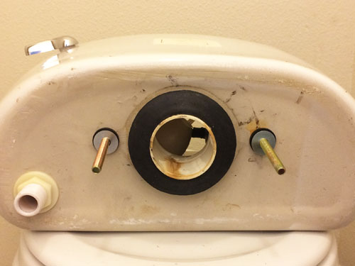 Toilet tank gasket and bolts