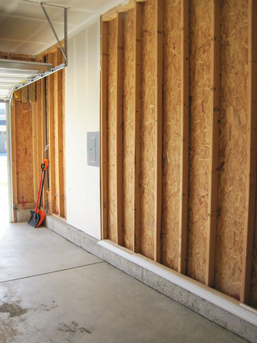 Installing drywall in garage
