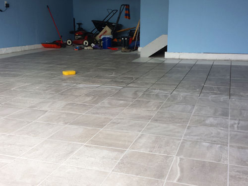 Grouting garage porcelain tile