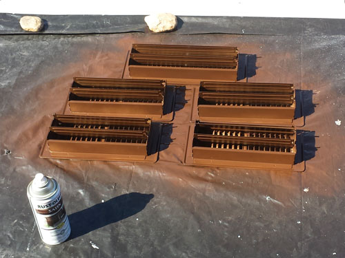 Spray painting hvac registers